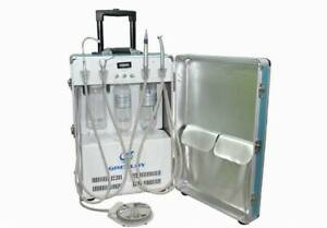 Greeloy GU-P204 Dental Portable Unit Air Compressor with 3-way syringe fly