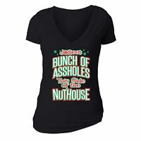Womens Jolliest Bunch Of Nuthouse Vacation Ugly Christmas Sweater V-neck T-shirt