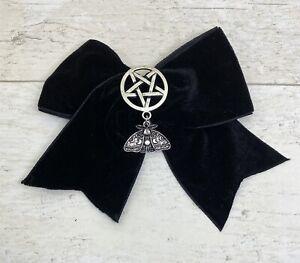 BlackVelvet Hair Bow Slide Clip Inverted Pentagram Pentacle Luna Moth Charm Goth