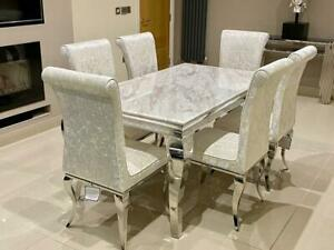 Louis White Marble Dining Table Chrome Lucy Cream Crushed Velvet Dining Chair