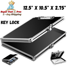 Slim Aluminum Storage Police Clipboard Solid Briefcase Letter Size Case Black