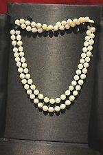 "Pearls 32"" Cultured Necklace 7-7.5mm 14k YG clasp Cream"