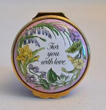 """Halcyon Days Enamels Mother's Day 1987 """"For You With Love"""" Trinket Box"""