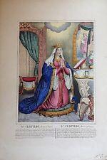 SANTA CLOTILDE, reina de Francia, litografía chez Maesani, mediados s. XIX
