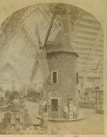 1876 CENTENNIAL EXPO STEREOVIEW - OLD TIME WIND MILL - PHILADELPHIA - T3