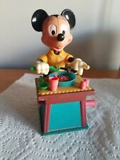 Vintage Mickey Mouse Eating Spaghetti Mechanical Crank Toy Head & Arms Move