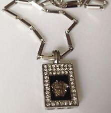 collier chaine stainlless pendentif cristaux diamant tête couleur argent 5259