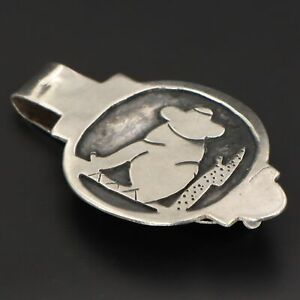 VTG Sterling Silver - MEXICO Mexican Siesta Sombrero Man Men's Money Clip - 12g