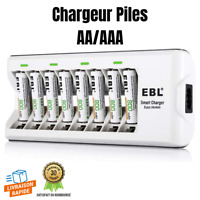 Chargeur De Piles Rechargeables 8 Slots AAA/AA Ni-MH Ni-CD 8 Piles AAA Incluses