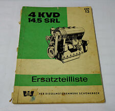 Teilekatalog VEB Stationär Dieselmotor 4 KVD 14,5 SRL Stand 10 / 1965