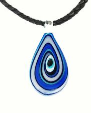 Lucky Evil Eye Murano Glass Protection Pendant in Blue and White