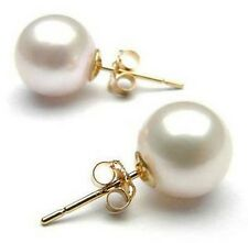Retro Womens Ear Stud Earrings Jewelry Korean 8mm Big Pearl Yellow gold filled