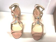 Jimmy Choo Lila Patent Crisscross Patent Leather Sandal, Blush. Size 37.5