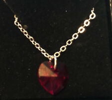 heart necklace crystalized swarovski elements RED
