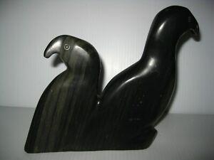 """Vintage Native Inuit Hand Carved Soapstone 2 Birds Figurine Artist Signed 6 5/8"""""""