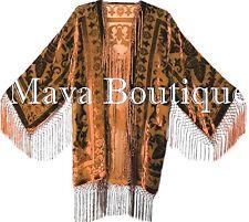 Copper Burnout Velvet Silk Fringe Jacket Short Kimono Maya matazaro