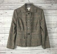 Harold's Women's Brown / Tan Plaid Button-Front Ruffle Wool Blazer / Jacket Sz 6