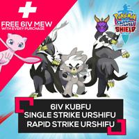 6IV KUBFU AND GMAX SINGLE/RAPID STRIKE URSHIFU W/ FREE MEW Pokemon Sword Shield