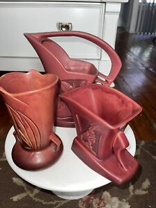 Roseville Silhouette Red (3) Pieces  780.6, 709.8, 756