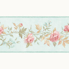 PP79472 - Pretty Prints 4 Blumen blau rosa Galerie Tapete Bordüre
