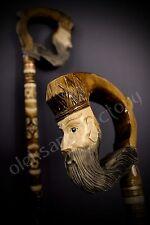 Wizzard Hand Carvin Canes Walking Sticks Wooden Unique Handmade Cane Vintage*