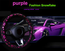 Car Pink Shiny Snowflake Steering Wheel Cover Anti-slip Cute Car Styling 37-38CM