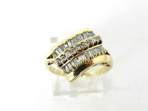 Estate 10k Yellow Gold 15mm Natural .50ctw Diamond Bypass Ladies Ring 3.6g