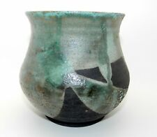 """VINTAGE HARIOTT 1984 FIRED CERAMIC ABSTRACT POTTERY VASE PLANTER HAND MADE 6"""""""