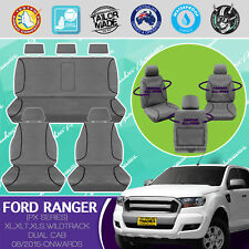 FORD RANGER DUAL CAB 08/2015-ON CANVAS WATERPROOF TAILOR MADE GREY SEAT COVERS