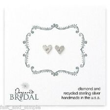 NEW Dogeared Bridal Diamond Heart Earrings Diamond & Recycled Sterling Silver