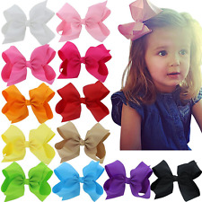 6 Inch Boutique Baby Girls Big Huge Hair Bows Flowers Snap Clips Wrapped Fabr...