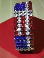 Red White Blue Patriotic Prong Set Rhinestone Stretch Bracelet USA 4th of July