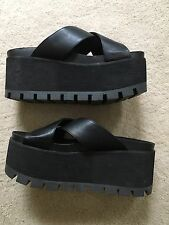 "Yru ""Ocean"" Black Sandals Platform Flatform Slides Lug Size 8"