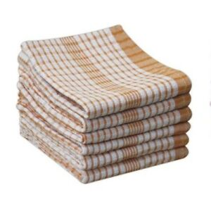 10 Pack ORANGE Wonderdry Catering Cloths Checked Kitchen T-Towels