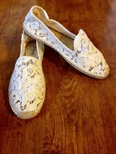 EUC Soludos Tulip Lace Classic Smoking Slipper in Ivory~Sz 7~$75 Retail!