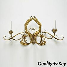 """31"""" Vintage Hollywood Regency Italian Tole Gold 4 Candle Wall Sconce Candelabra"""