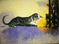 """Original oil painting of """"Caviar The Cat"""" on canvas signed by artist 18x24"""