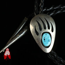 Bolo tie old pawn jewelry Usa Vintage Navajo bear turquoise sterling silver .925