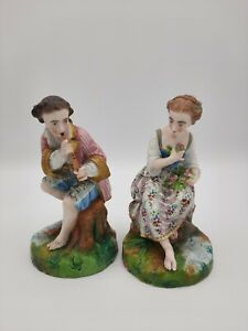Antique French Jean Gille Pair Of Bisque Figurines of Courting Couple