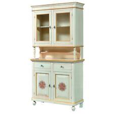 Credenza 2 ante napoletana arte povera in legno massello, cristalliera, mobile L