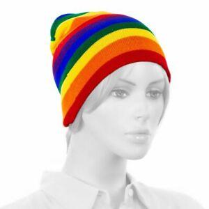 Rainbow Winter Cuff-less Beanie Hat Pom Knit Cap Unisex Adult Teen Size Soft