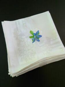 Vintage Set of 12 White Linen Napkins Wth Rose Pattern Design