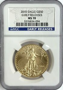 2010 $50 1 oz Gold Eagle NGC MS70 Early Release