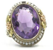 14K WHITE GOLD TRI COLOR GOLD AMETHYST & SEED PEARL COCKTAIL RING #452B-6