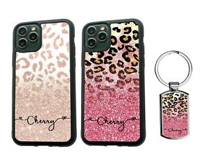 PERSONALISED Name Leopard Silicone Case iPhone SE XS MAX 11 12 Pro Max + Keyring