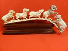 (Ram-1) Rams fighting ram of shed Antler figurine Bali detailed carving running
