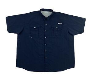 Columbia PFG Button Down Shirt Men's 4XT Navy Blue Short Sleeve Fishing