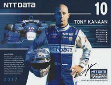 2017 Tony Kanaan signed NTT Data Honda Dallara Indy Car postcard