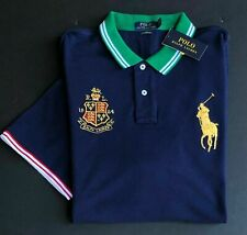 NEW Polo Ralph Lauren Big Pony Crest Mesh Polo Shirt Navy Blue Gold Embroider Lg