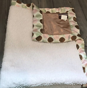 Rare Blankets & Beyond Pink Brown Tan Green Blanket Polka Dot Lovey Satin Back